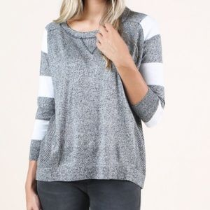 Altar'd State Sidelines Sweater Black and Ivory Sm